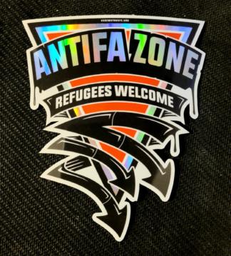 Antifa Zone triangular holographic sticker